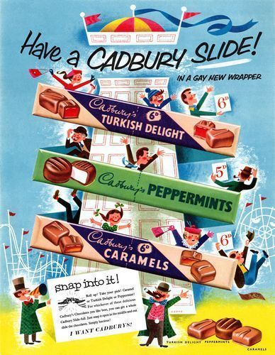 1950 s Cadburys Chocolate  Sweets Advertising Poster A3 / A2  Reprint