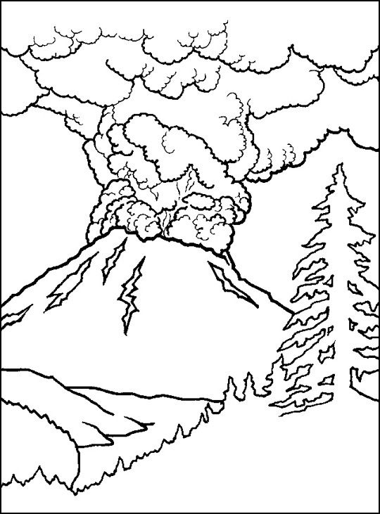 Active volcano coloring sheet--- could go with my mouth is