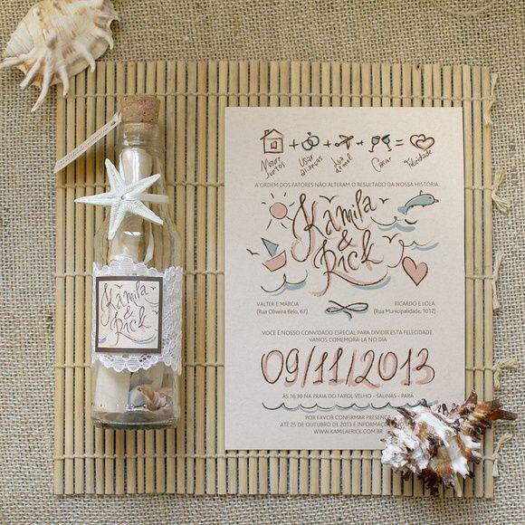 Convite Garrafa Para Casamento Na Praia | ATELIER COLIBRI | Elo7