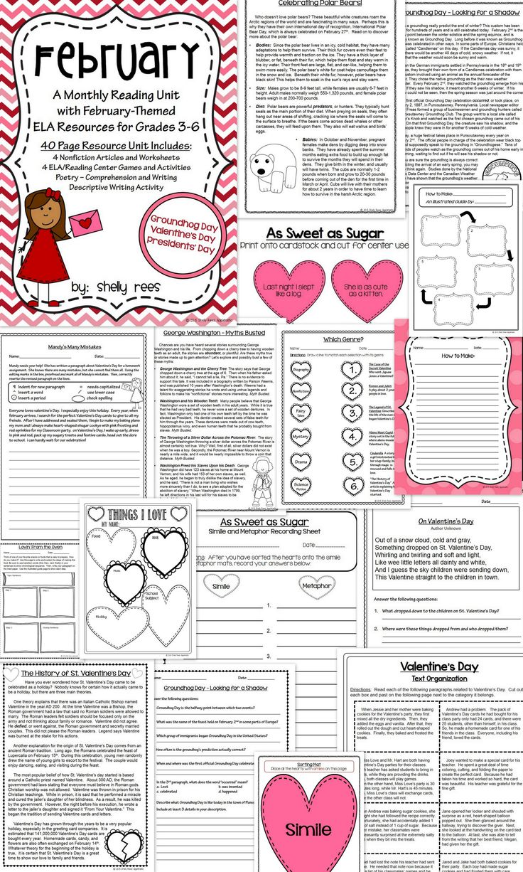 reading comprehension passages february reading unit valentines activities and groundhog day. Black Bedroom Furniture Sets. Home Design Ideas