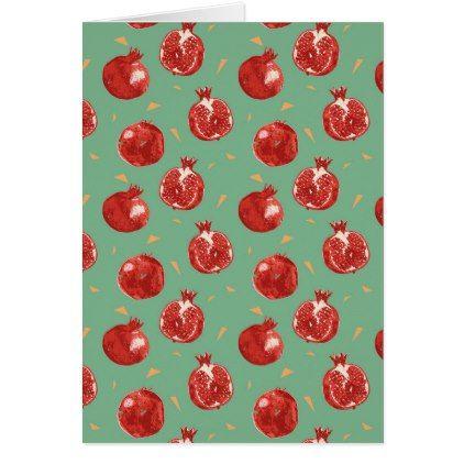 Pomegranate Fruit Vector Seamless Pattern Card - summer gifts season diy template ideas