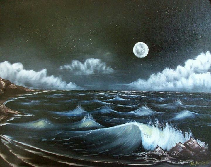 Waves under the moon.