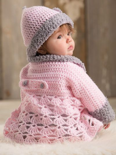 This adorable pink sweater features a plush collar and cuffs crocheted in a contrasting modern light gray for a trendy upgrade in baby styles! With a fashionable matching hat, you cant go wrong with this set for your favorite little one. Designs are...