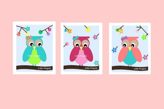 Girl Owl Nursery Wall Art Matches Girl Owl bedding, can also change Owl Colors, for Toddler Room Wall Art 8x10 via Etsy