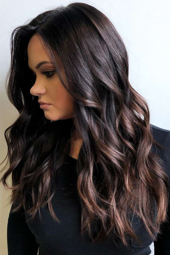 How To Get And Sport Black Hair With Highlights In 2019 Black Hair With Highlights Hair Highlights Brunette Hair Color