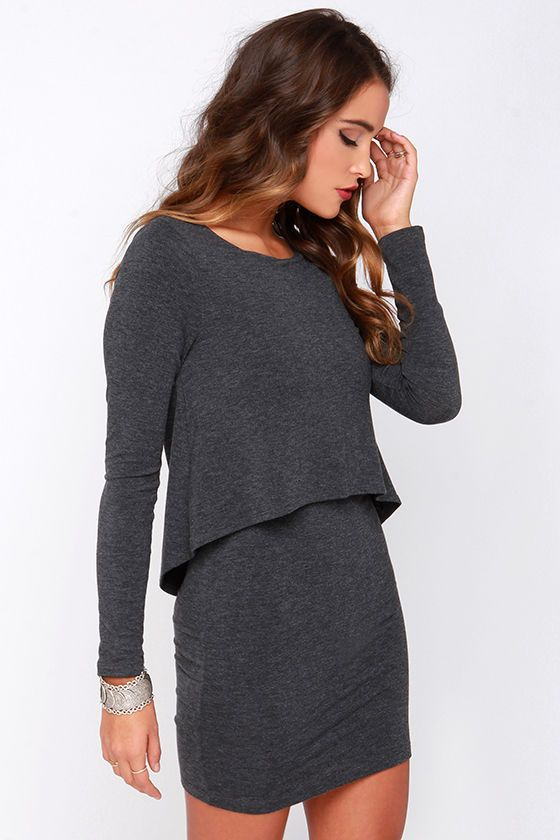 Duet You Want Charcoal Grey Dress at Lulus.com!
