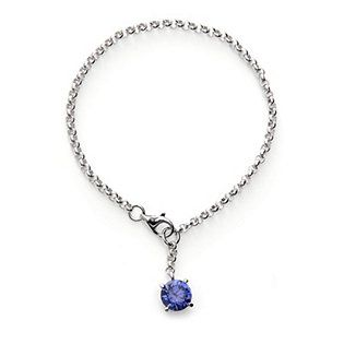 Diamonique 3ct tw Simulated Tanzanite Charm 19cm Bracelet Sterling Silver