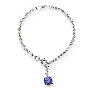 Diamonique 3ct tw Simulated Tanzanite Charm 19cm Bracelet Sterling Silver