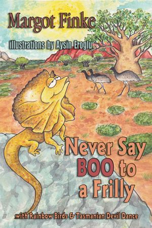Awesome Aussie critters bring facts and fun into these three rhyming stories. The Tasmanian Devil dances, the Rainbow Birds rule, and the Frillneck Lizard plays himself—he lounges. Educational, too, with fun new vocabulary words on every page.   Parent/Teacher Guide page of author website: http://myplace.frontier.com/~mfinke/Teacher%27s%20Guide.htm#teach