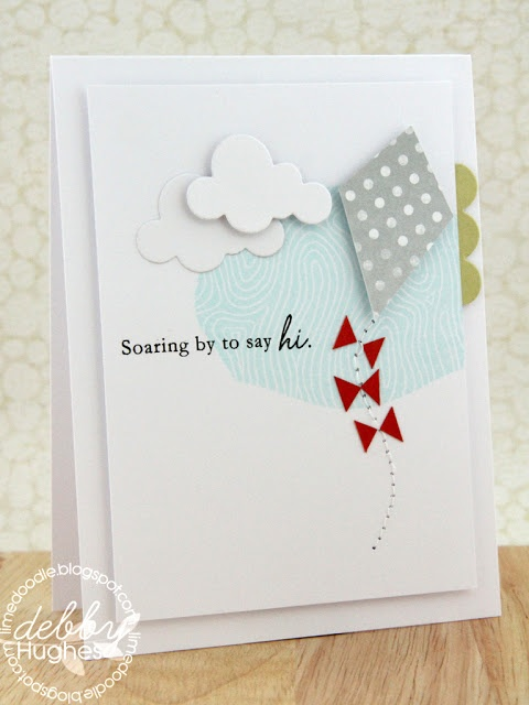 Soaring to say hi..greeting card with a pretty kite.
