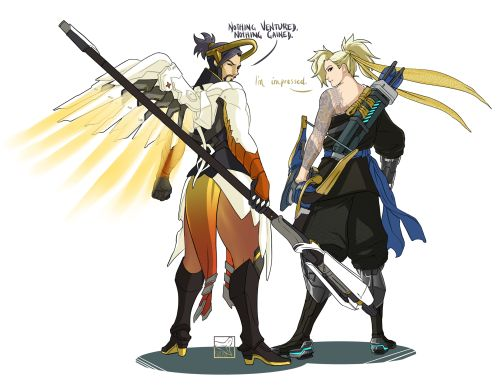 Overwatch Outfit-Swap: Hanzo and Mercy [Submitted by Anon] UGH I LOVE MERCY'S COLOUR PALETTE. I also wish I could play her worth a damn. I think she (and Hanzo, for that matter) could rock just about any outfit. I think his outfit does suit her...