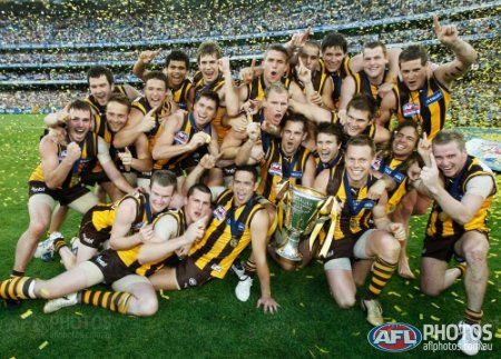 Hawthorn players celabrate with the cup after winning the 2008 Toyota AFL Grand Final between the Geelong Cats and the Hawthorn Hawks at the MCG.