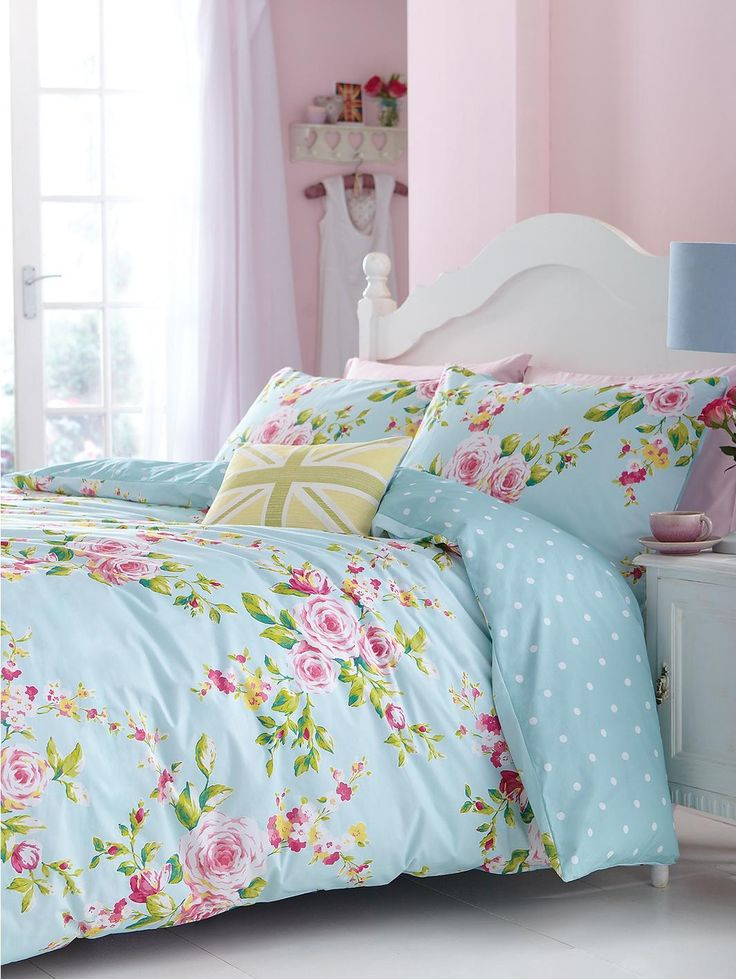 Canterbury Duvet Cover and Pillowcase Set in Single, Double and King sizes Give your bedroom a quaint, country look with the pretty Canterbury duvet cover set.In a stunning blue, the set flaunts a pink and green floral design with a vintage style for a delicately rustic look. The reverse, meanwhile, features a cute polka dot pattern.A set comprises 1 duvet cover plus 1 pillowcase in the single size, or 2 pillowcases in the double and king sizes.Useful info: Canterbury Duvet Cover SetBlue…