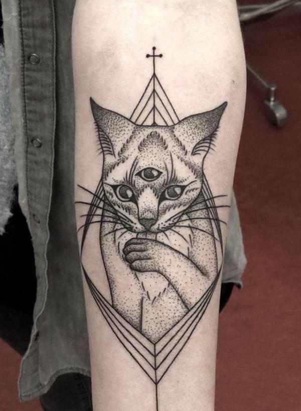 Https Www Creativefan Com Wp Content Uploads Third Eye Cat Tattoo Jpg Cat Tattoo Tattoos Marquesan Tattoos