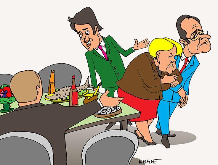 Европа наелась санкций. Ангела Меркель упорствует, Франсуа Олланд – ни рыба ни мясо, негативное отношение к антироссийским санкциям премьера Италии Маттео Ренци общеизвестно. #карикатуры #санкции #Меркель #Олланд #Ренци