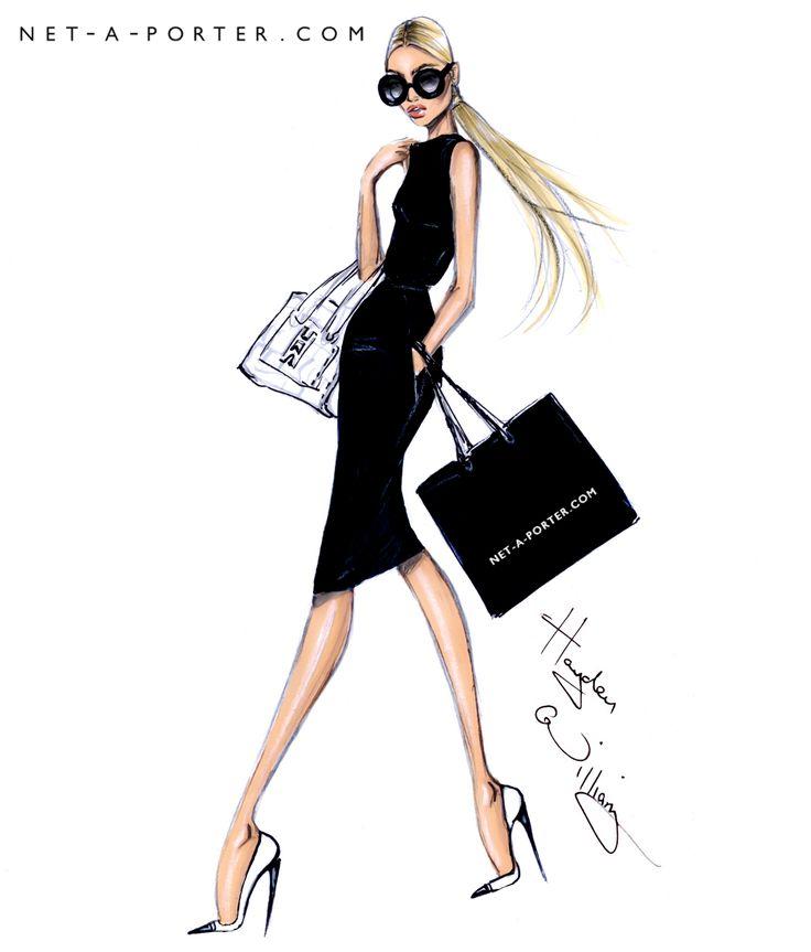 Hayden Williams Fashion Illustrations   She shops at NET-A-PORTER - by Hayden Williams