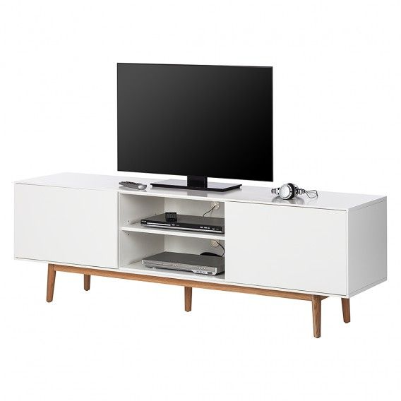 TV-Lowboard Lindholm - Weiß Dekor/Eiche massiv | Home24