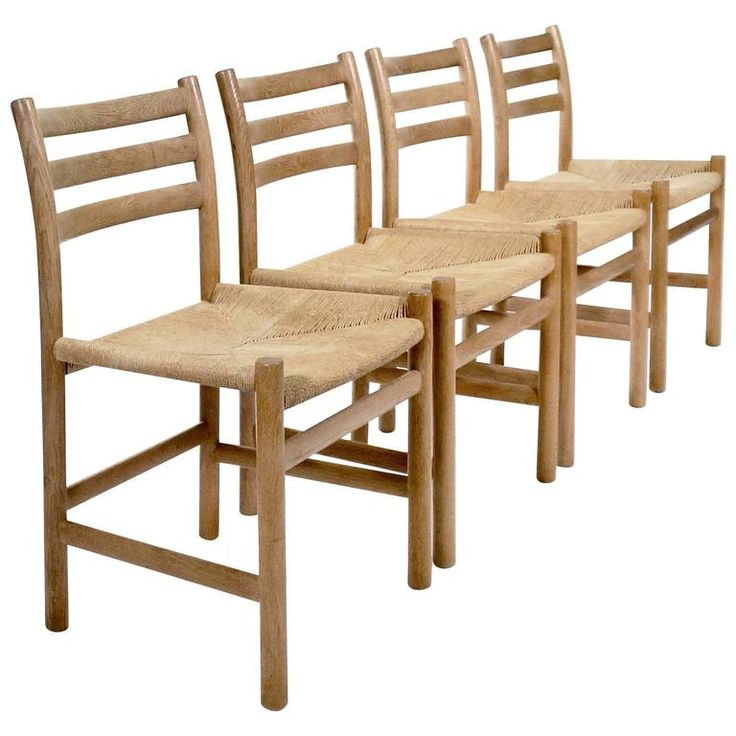 Set of Four Oak Ladderback Dining Chairs by Poul Volther | From a unique collection of antique and modern side chairs at https://www.1stdibs.com/furniture/seating/side-chairs/