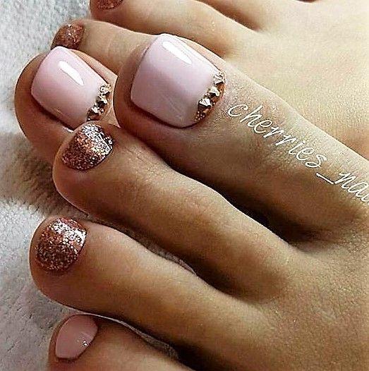 Pink cooper Toe Nails
