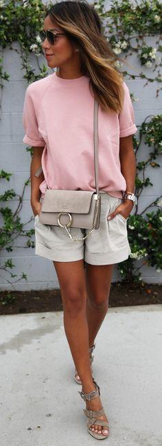 SINCERELY JULES 'Cara' shortsleeve sweatshirt +  THEORY linen shorts