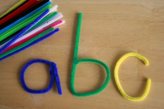 teaching letters with pipe cleaner