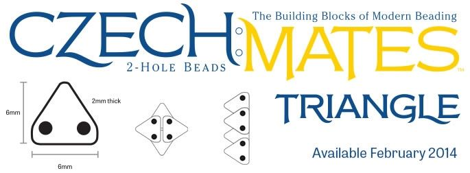 Examples of layering the (soon-to-be-launched) CzechMates 2-hole Triangle beads