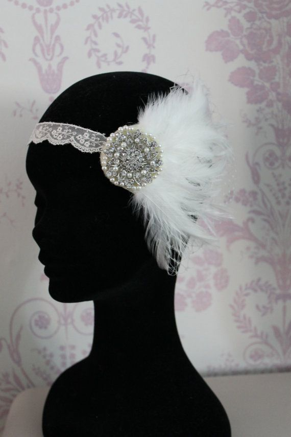 Great Gatsby headband  1920S Flapper headdress  by Sparklebyelle
