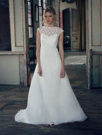 cool detailing at the neckline! I would kind of look pregnant, but I still like it: Michelle Roth - Illusion A-Line Gown in Chiffon