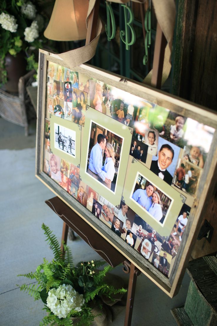 Fern Wedding in the Mountains: Bride and Groom photo collage displayed at wedding. Used engagement pictures with baby pictures and childhood pictures