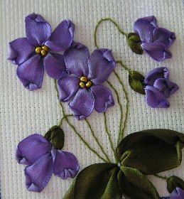 violets - ribbon embroidery