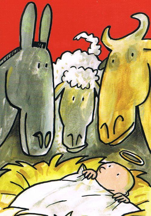 Kindje in de kribbe. Postkaart van Frank Wowra. Frank Wowra  is geboren in 1965 in Bückeburg, woonachtig in Berlijn sinds 1969. Daar studeerde hij aan de Academie van Beeldende Kunsten sinds 1997 en is een freelance illustrator. Van zijn hand verschenen veel kinderboeken die door  hem zijn geïllustreerd.   Voor zijn werk ontving hij verschillen de onderscheidingen