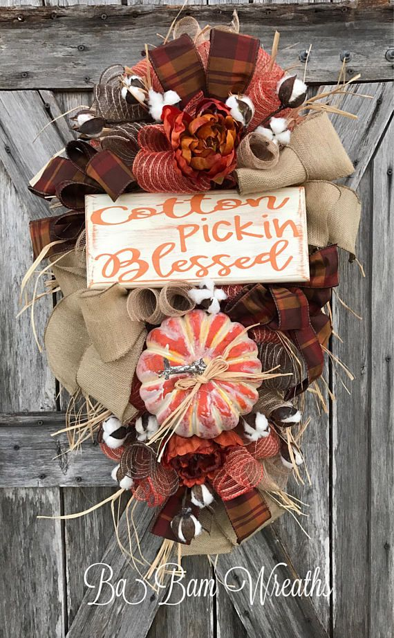 Cotton Pickin Blessed Fall Wreath Fall Swag Autumn Swag