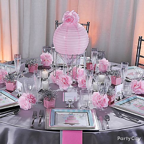I know this is bridal shower decor but I really like the silver and pink decor together!!