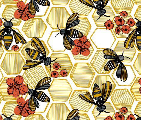 Honey Bee Hexagon fabric by tiffanyheiger on Spoonflower - custom fabric