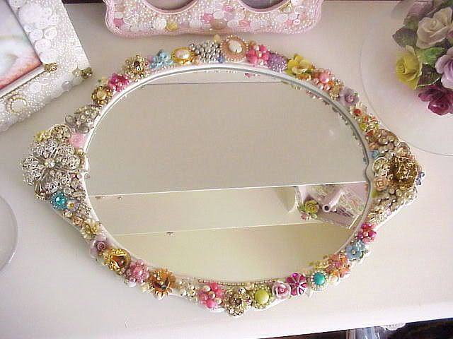 decorated mirror notice the button and pearl picture frames behind it love love - Decorate Mirror Frame