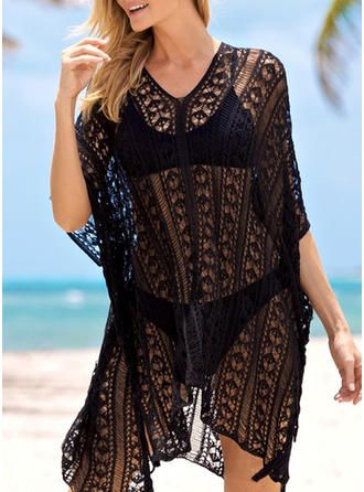 VERYVOGA Solid Color V-neck Sexy Fashionable Beautiful Attractive Cover-ups Swimsuits