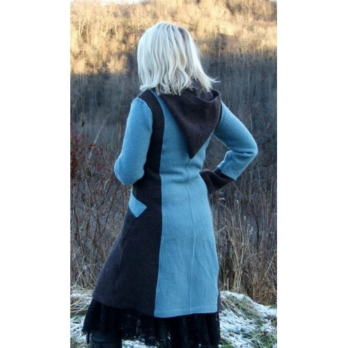 Dusty turquoise and brown wool coat. Tailored wool coat with a short pointed hood. A feminine coat with an elegant cut, large visible pockets, and buttons in front.