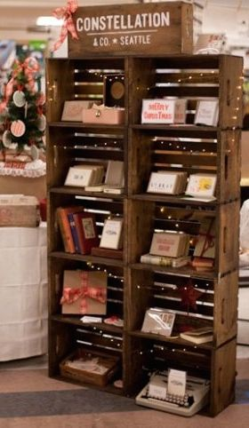 Rustic wood stackable crate retail display product. Love this! Would ...