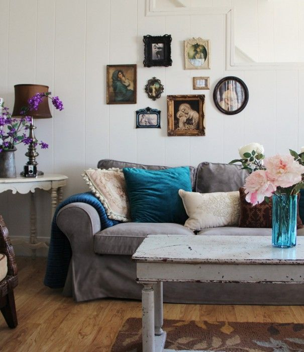 Gray couch with turquoise accents and a dash of vintage!
