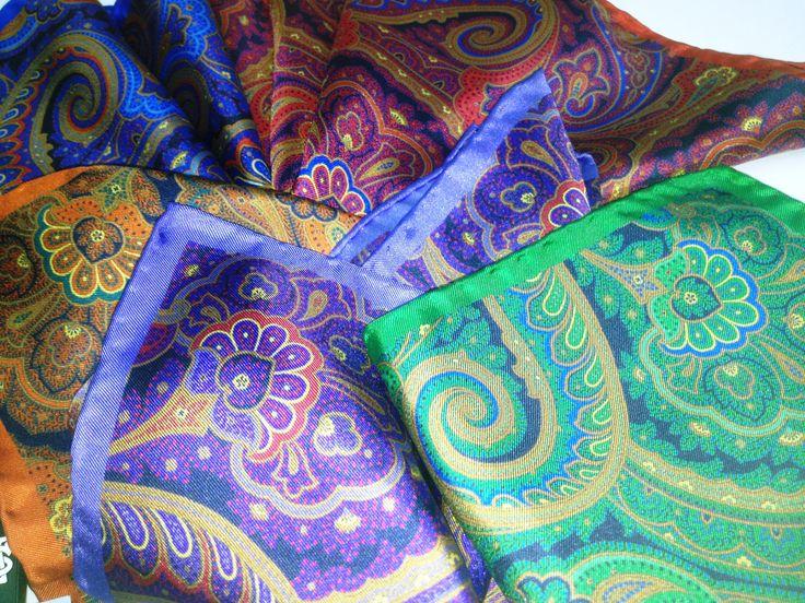 Colorful paisley pocket squares - I love them!
