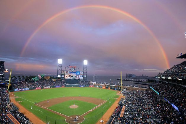 """KQEDScience • Double Rainbow Over San Francisco """"General view..."""