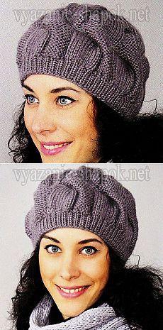 Объемный берет с косами – вяжем спицами | ВЯЗАНИЕ ШАПОК: женские шапки спицами и…
