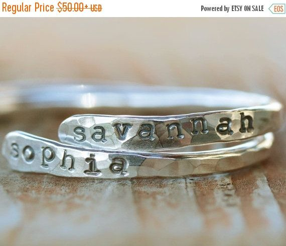ANNIVERSARY SALE Personalized Baby Gift / Baby Bracelet / Baby Name Keepsake / Hammered Bracelet / Personalized Baby Bracelet / Baby First Y by amywaltz #TrendingEtsy