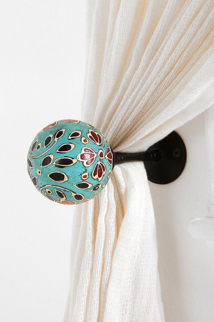 Hand-Painted Curtain Tie-Back  #UrbanOutfitters  DIY w/ wooden candlestick holder and ball