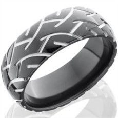 mens black super slick tire tread ring - Guy Wedding Rings