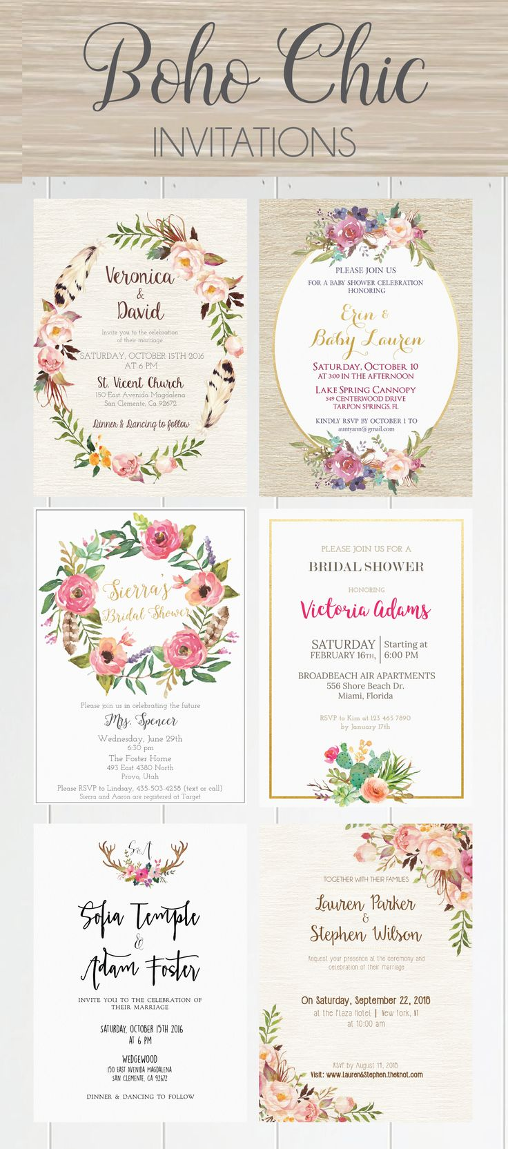 Beautiful Boho Chic Invites! ♥ Today we're sharing the most amazing boho chic…