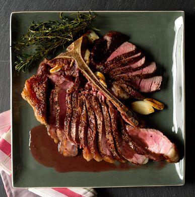Tuscan Porterhouse Steak with Red Wine-Peppercorn Jus