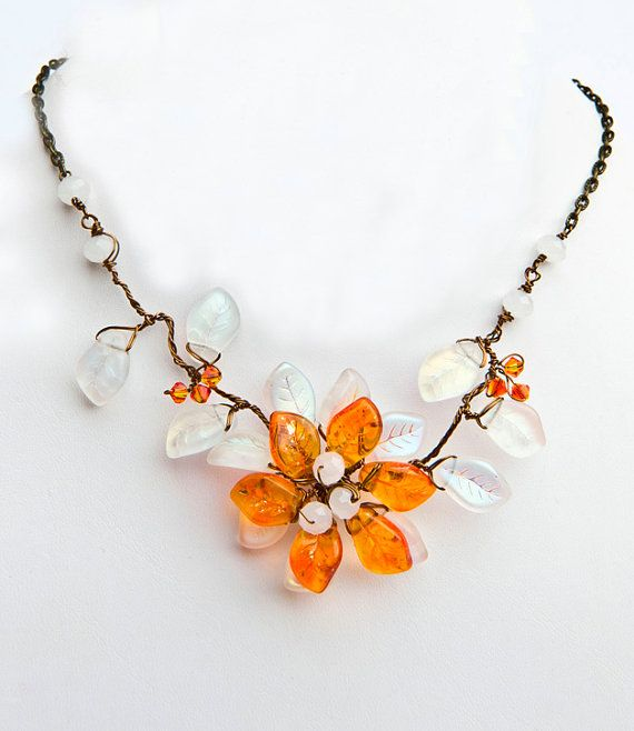 Orange Flower Necklace Bib Necklace Chunky by CherylParrottJewelry, $64.95  For Mom
