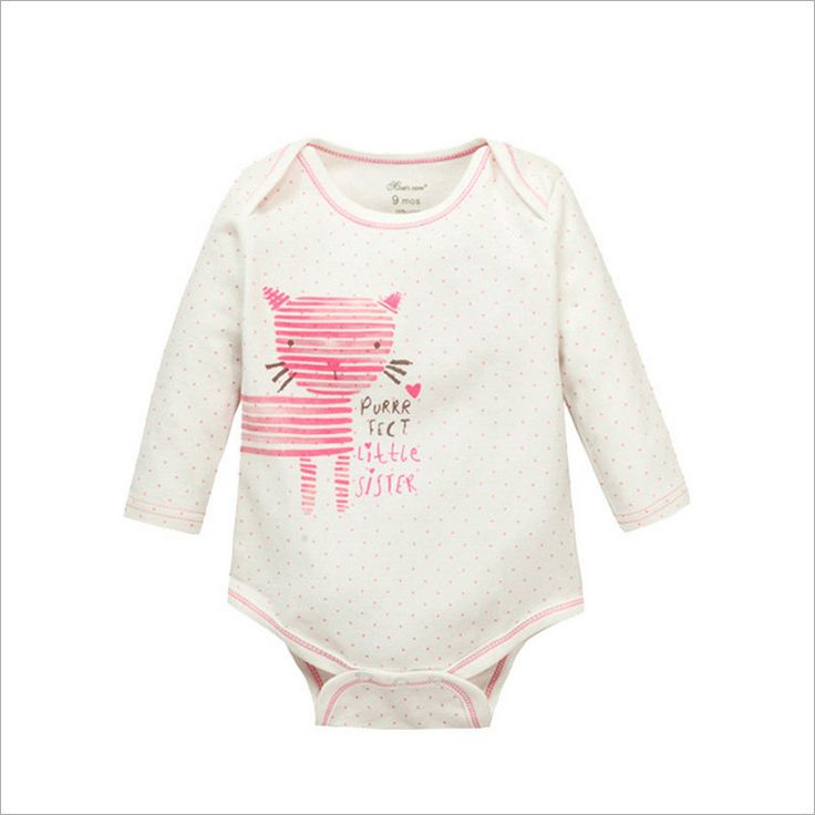 Cielarko pure Cotton Kids children's Baby rompers onesie clothes Boys Girls Long Sleeve Romper One Pieces Jumpsuit Pink Kitty Kat Cat Print