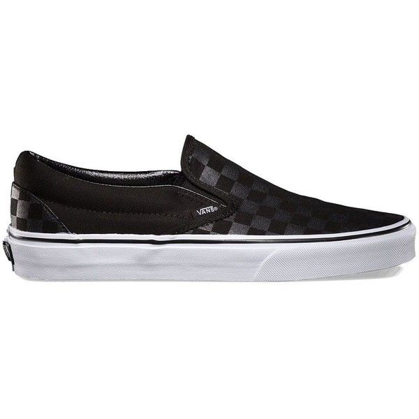 Vans Checkerboard Slip-On ($50) ❤ liked on Polyvore featuring shoes, sneakers, black, black slip-on sneakers, black low tops, slip on sneakers, black trainers and black sneakers